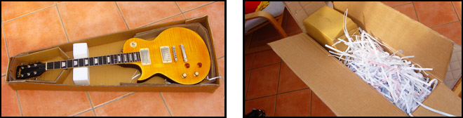 Packing a Left Handed Guitar in a Cardboard Box Padding