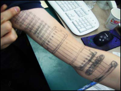 Bad Guitar Forearm Tattoo