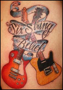 Religious Theme Guitar Tattoo