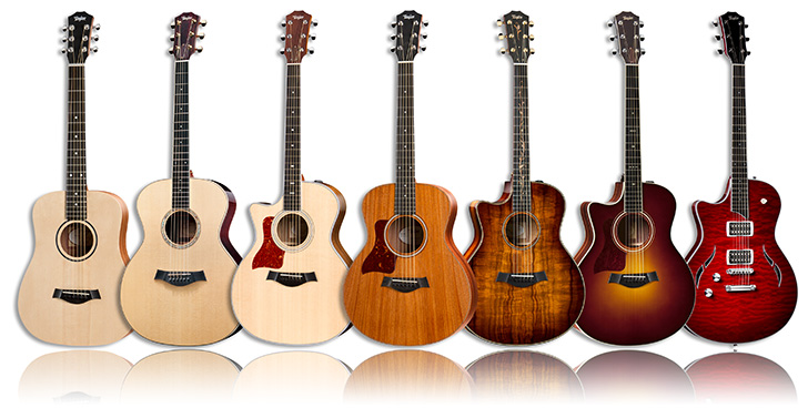 A Selection of Left Handed Taylor Acoustic Guitars