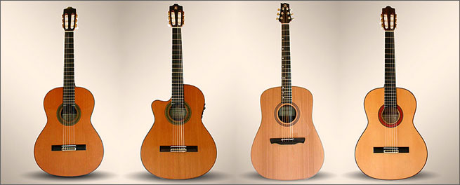 Alhambra left handed acoustic flamenco classical guitars