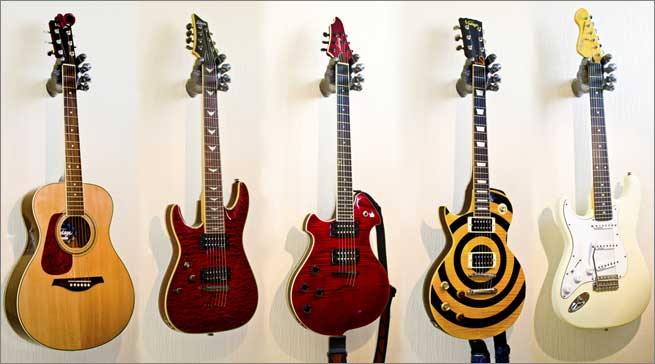 A sample of guitars hanging with the Grip Studios hanger