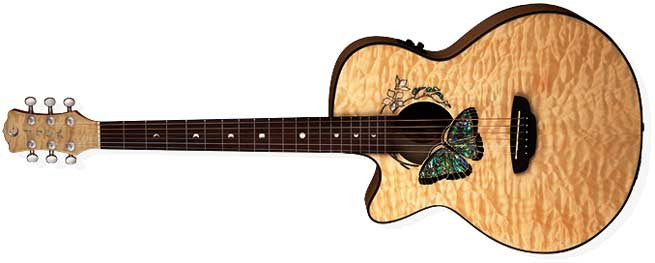 Luna Fauna Butterfly Left Handed Acoustic Guitar Lefty