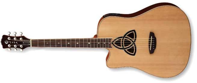 Luna Trinity Dreadnought Left Handed Acoustic Guitar Lefty