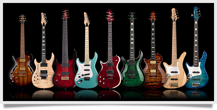 A Selection of Left Handed Carvin Guitars and Basses