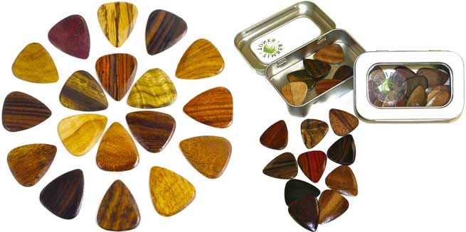 Timber tones guitar wood picks plectrums competition win