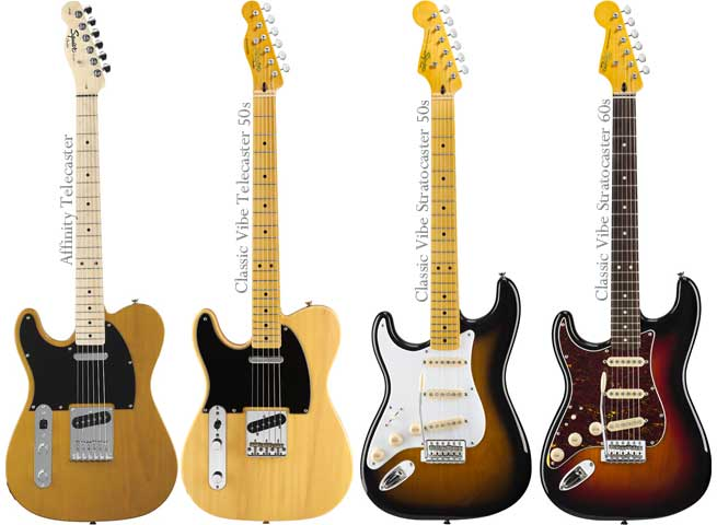 New Left Handed Telecasters and Stratocaster from Squier Lefty