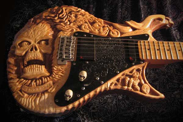 Ironside Ghostrider Guitar Carved Skull Halloween