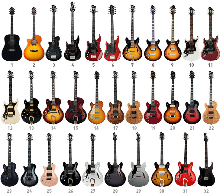 Hagstrom Left Handed Guitars and Bass Guitars