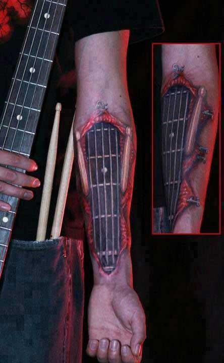 20 kick ass guitar tattoos. Black Bedroom Furniture Sets. Home Design Ideas