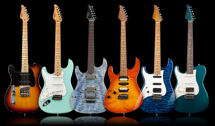 A Selection of Left Handed Suhr Guitars