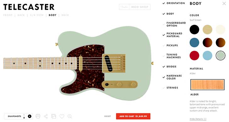 Fender Mod Shop Builder Interface