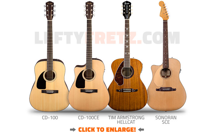 Left Handed Fender Acoustic Guitars