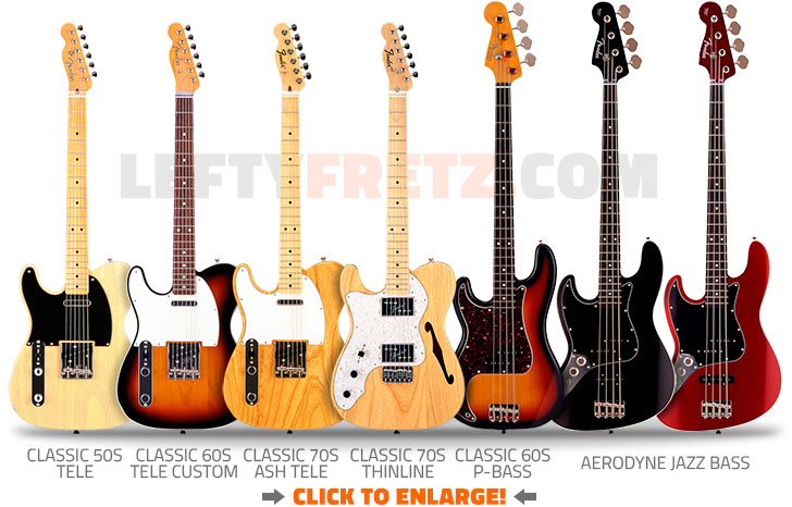 Left Handed Fender Japan Guitars and Basses