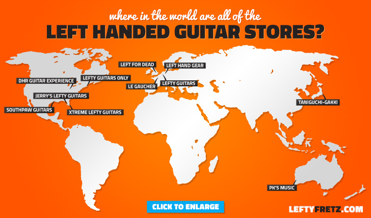 World Map of Left Handed Guitar Stores