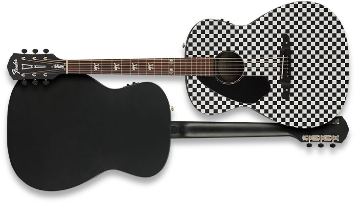left handed fender tim armstrong hellcat checkerboard acoustic guitar