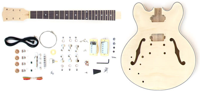 Left Handed DIY Semi Hollow ES-335 Guitar Kit