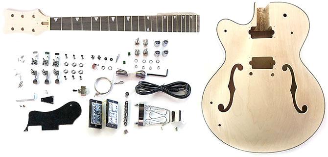 Left Handed DIY Semi Hollow Body Guitar Kit