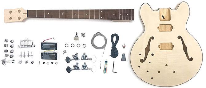 Left Handed DIY Semi Hollow Bass Kit