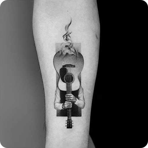 Black Grey Guitar Tattoo