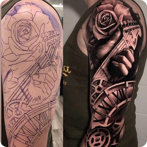 Black Guitar Tattoo Sleeve