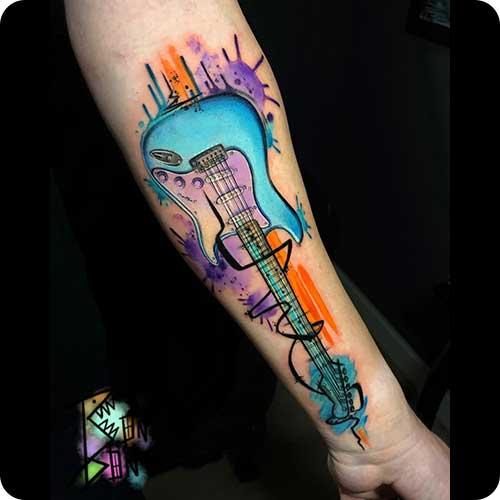 Colorful Guitar Tattoo