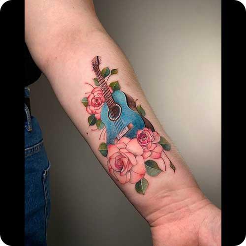 Flower Guitar Tattoo
