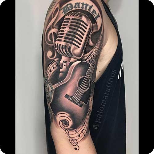 Guitar Microphone Tattoo