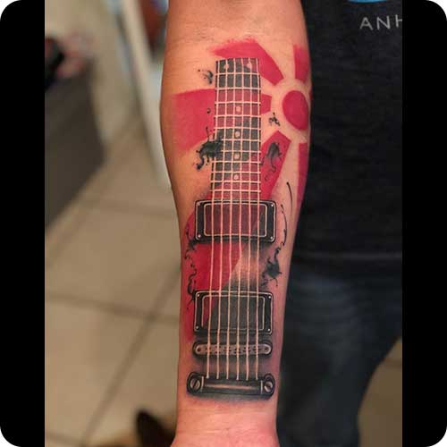 Guitar Tattoo Forearm
