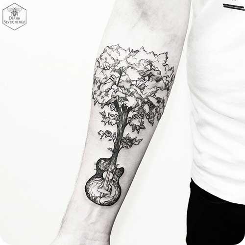 Guitar Tree Tattoo
