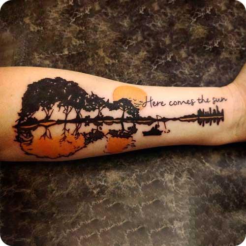 Nature Guitar Tattoo Idea