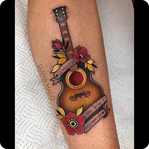 Traditional Acoustic Guitar Tattoo