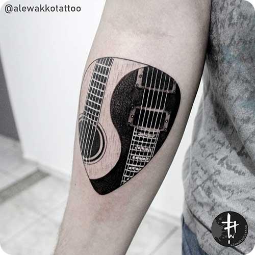 Ying Yang Guitar Pick Tattoo